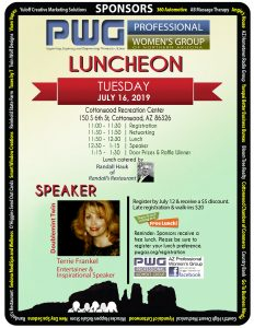 Professional Women's Group of Northern Arizona's July 2019 Lunch flier